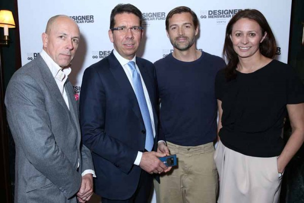 Dylan Jones OBE (GQ), Massimiliano Pogliani (Vertu), Patrick Grant (E. Tautz) and Caroline Rush (BFC)