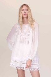 Rebecca Taylor Long Sleeve Embroidered Shirt and Lace Shorts