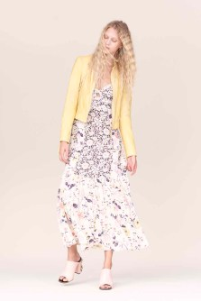 Rebecca Taylor Leather Jacket and Floral Silk Dress Spring 2016