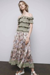 Rebecca Taylor Chantelle Smocked Top & Floral Skirt