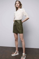Rebecca Taylor Arella Lace Top, Leather Skirt