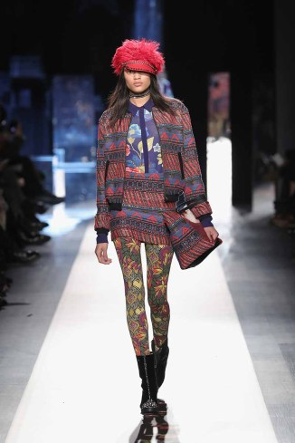 DESIGUAL_NYFW_AW17_ATWALK_LOOK 45 NEW YORK, NY - FEBRUARY 09:A model walks the runway at the Desigual show New York Fashion Week The Shows at Gallery 1, Skylight Clarkson Sq on February 9, 2017 in New York City