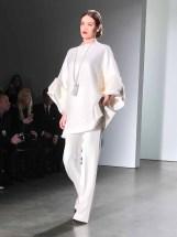 NEW YORK, Feb 13, 2017 - A model walks the runway at Zang Toi Fall 2017 show held at Pier 59. #NFW