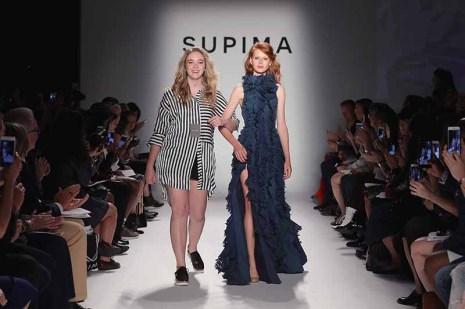 NEW YORK, NY - SEPTEMBER 07: Lela Thompson, Drexel University walks the runway at Supima Design Competition SS18 during New York Fashion Week at Pier 59 on September 7, 2017 in New York City. (Photo by JP Yim/Getty Images for Supima Design Competition)