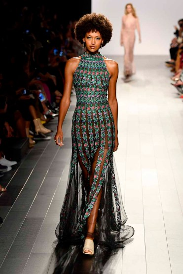 NEW YORK, NY - SEPTEMBER 07: A model walks the runway for Tadashi Shoji fashion show during New York Fashion Week: The Shows at Gallery 1, Skylight Clarkson Sq on September 7, 2017 in New York City. (Photo by Frazer Harrison/Getty Images For Tadashi Shoji)