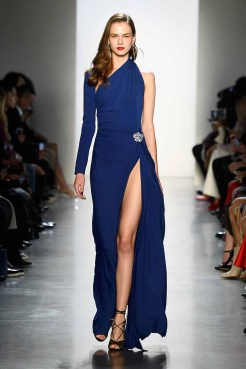 NEW YORK, NY - FEBRUARY 08: A model walks the runway for Tadashi Shoji during New York Fashion Week: The Shows at Gallery I at Spring Studios on February 8, 2018 in New York City. (Photo by Frazer Harrison/Getty Images for Tadashi Shoji)