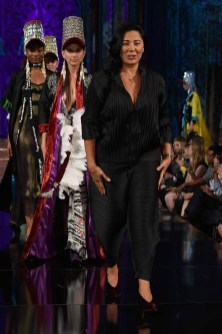 NEW YORK, NY - SEPTEMBER 06: Designer Amal Azhari walks the runway during the AMAL AZHARI show at New York Fashion Week Powered By Art Hearts Fashion at The Angel Orensanz Foundation on September 6, 2018 in New York City. (Photo by Arun Nevader/Getty Images for Art Hearts Fashion)