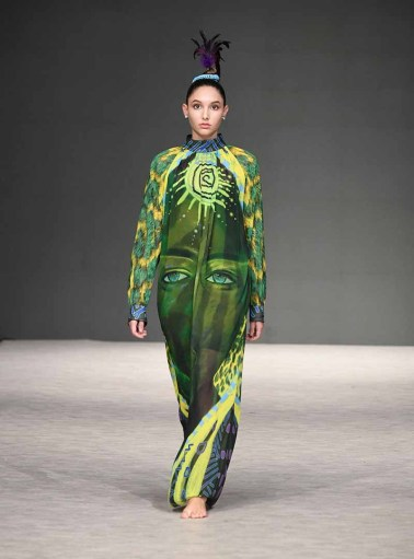 VANCOUVER, BC - SEPTEMBER 21: A model walks the runway wearing Anelia-Art at Vancouver Fashion Week Spring/Summer 19 - Day 5 on September 21, 2018 in Vancouver, Canada. (Photo by Arun Nevader/Getty Images for VFW Management INC)