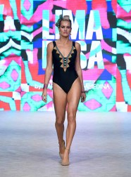 VANCOUVER, BC - SEPTEMBER 18: A model walks the runway wearing Lima Rosa at Vancouver Fashion Week Spring/Summer 19 - Day 2 on September 18, 2018 in Vancouver, Canada. (Photo by Arun Nevader/Getty Images for VFW Management INC)