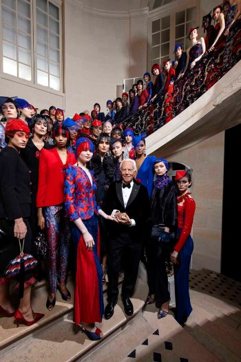 Giorgio Armani with models (Courtesy of Armani)