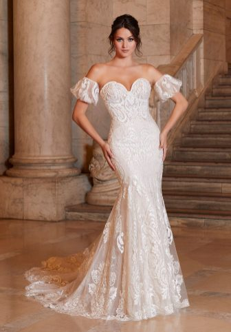 Pearl and Crystal Beaded Embroidery on Net Over Chantilly Lace Fit and Flare Gown with Detachable Pouf Sleeves and Wide Scalloped Hemline with Sheer Petal Train Shipped with Beaded Spaghetti Straps
