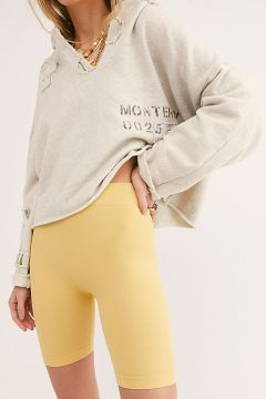 Intimately Seamless Rib Bike Short in Mellow Yellow, $20 at Free People