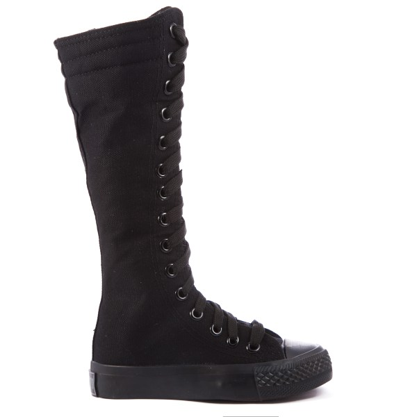 Kids Knee High Top Lace Up Boot Sneakers Shoe Rubber Sole