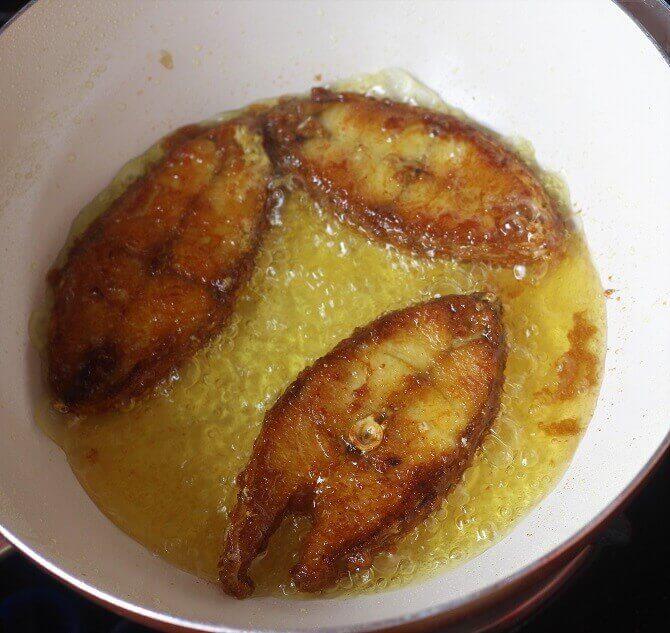 frying fish till brown in oil