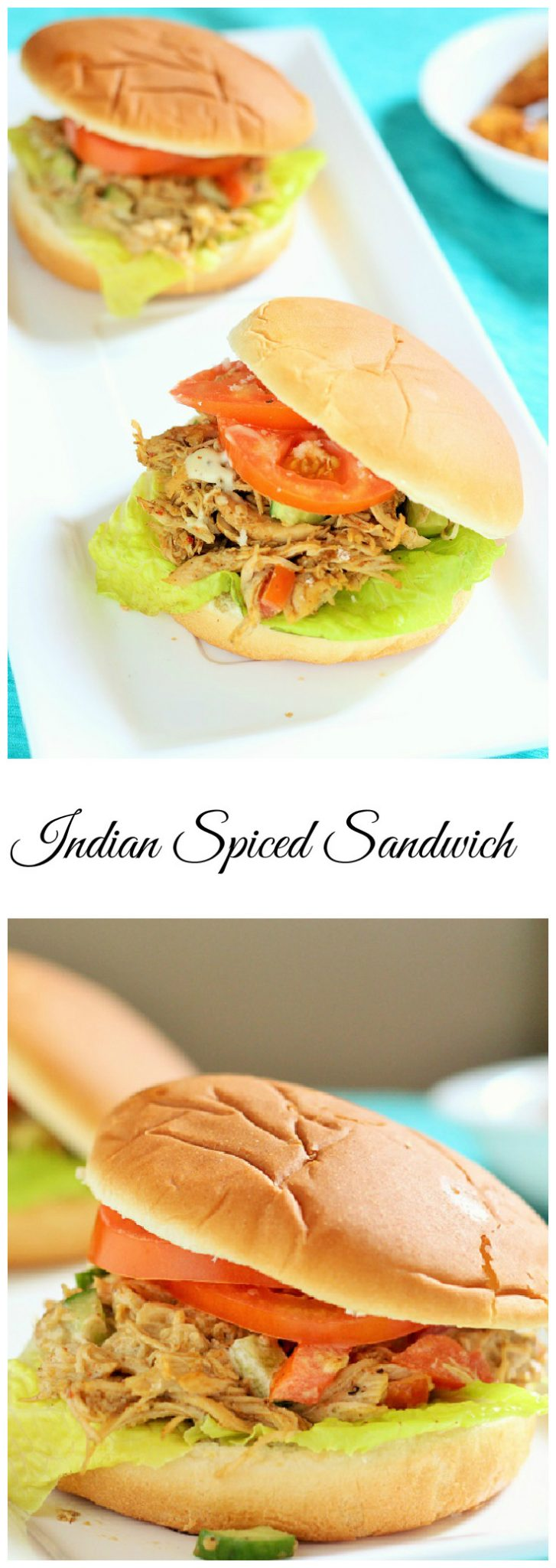 Indian Spiced Shredded Chicken Sandwich