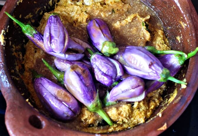 fried brinjal added to masala