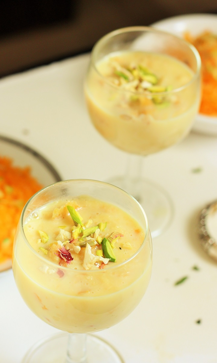 Rabri recipe garnished with dry nuts in a glass