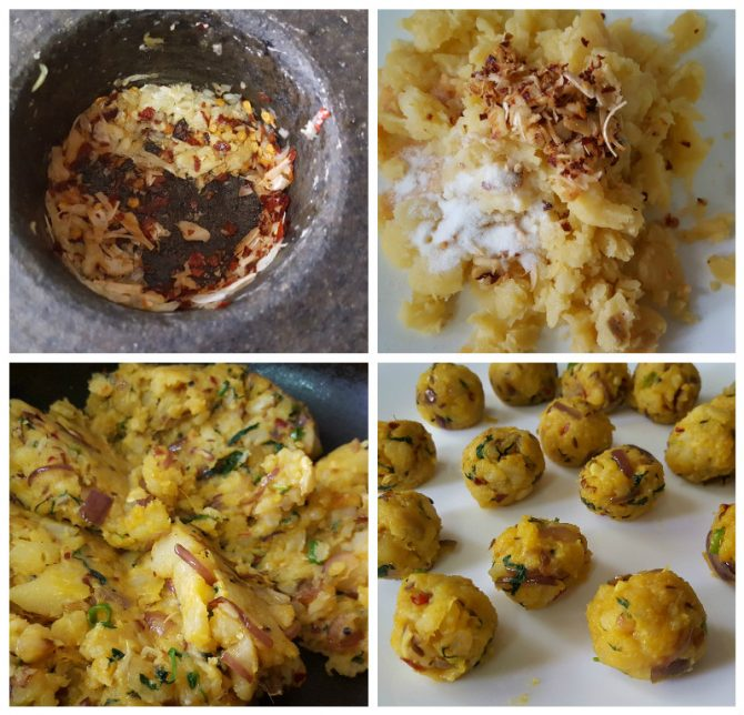 process of making the potato filling for the batata vada