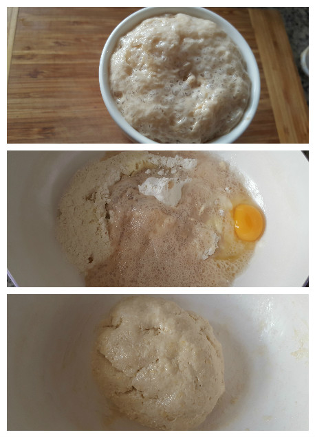 preparing the dough for the chicken bread recipe