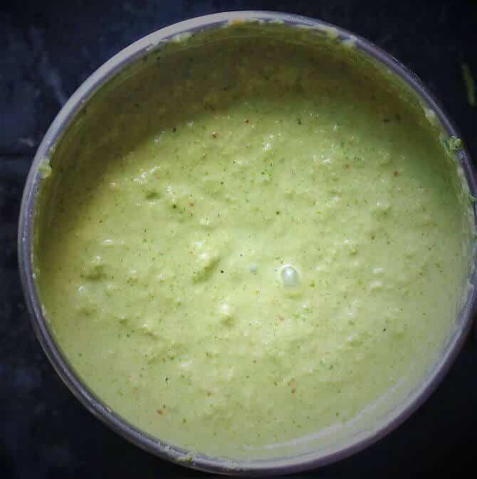 ground green chutney for dosa