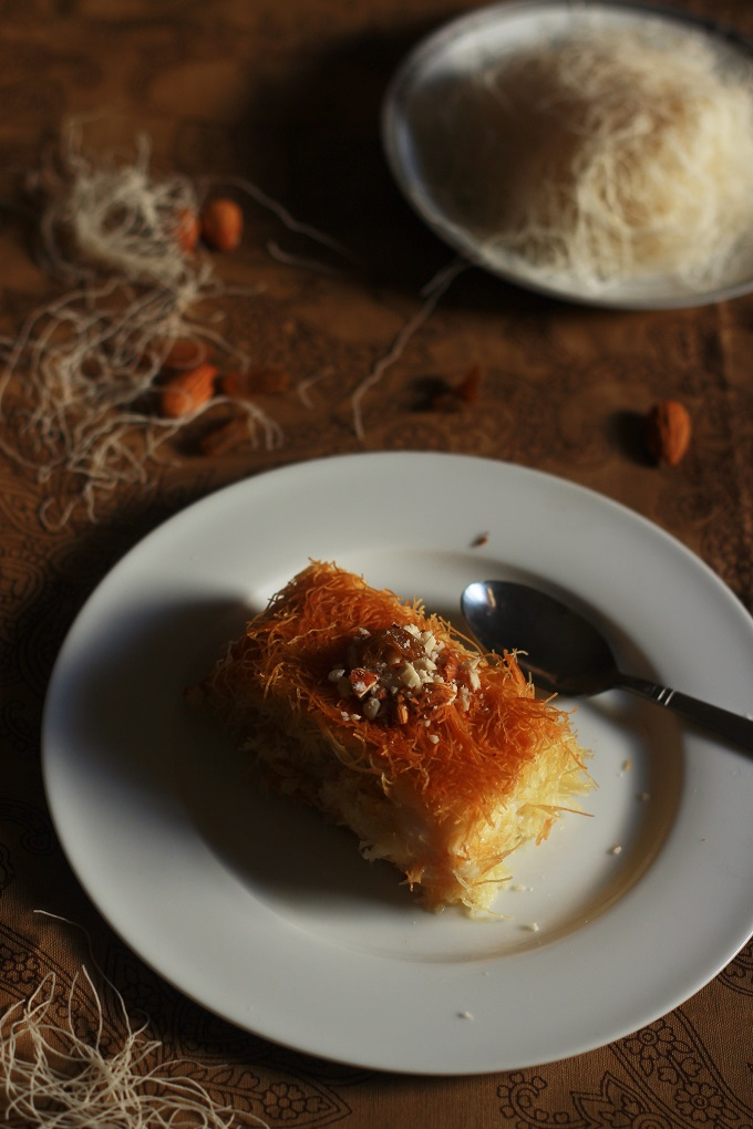 Kunafa Recipe-Knafeh Recipe with Kataifi- A very popular Arabic/Middle Eastern dessert made with the kataifi dough and milk pudding #kunafa #arabicrecipes #middleeasternrecipes #halaalrecipes #faskitchen #desserts