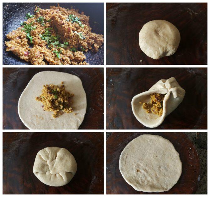 process of making mutton keema paratha