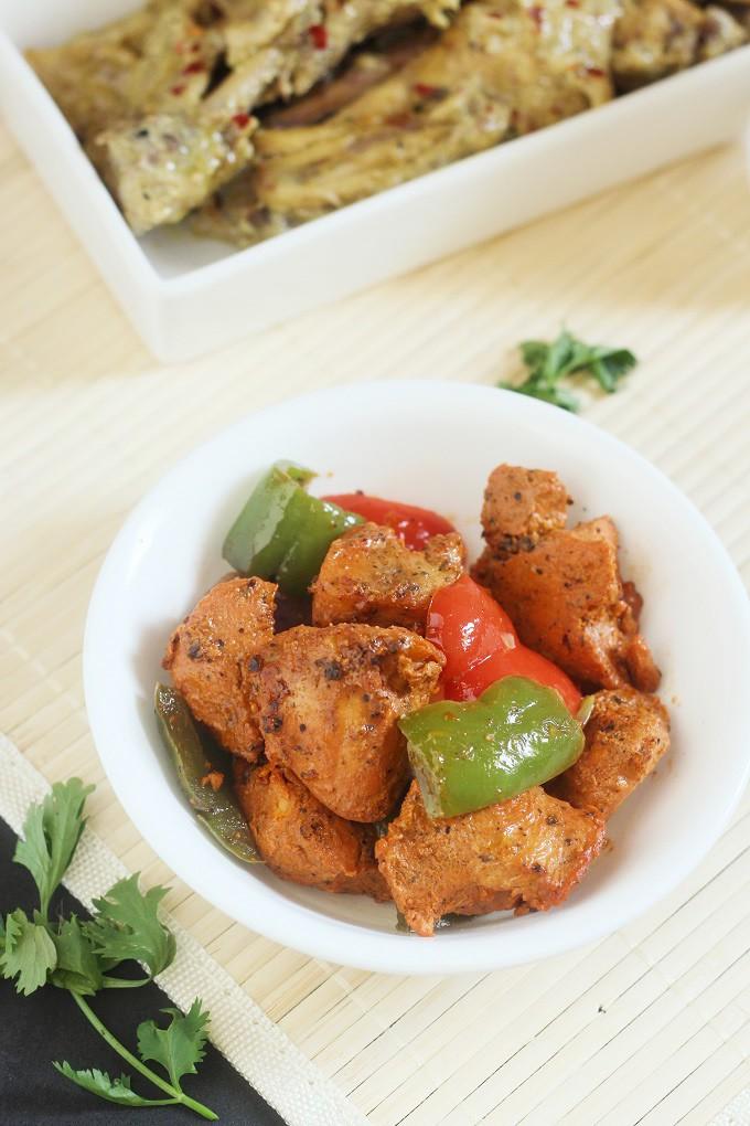boneless tandoori chicken recipe in oven-Tandoori chicken recipe made with boneless chicken breast pieces in an oven
