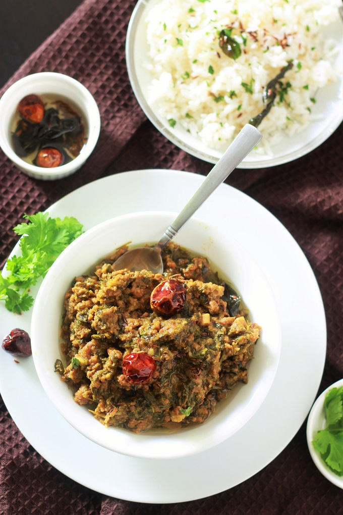 overhead view of the keema methi