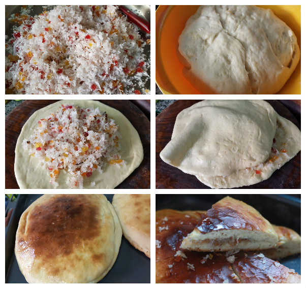 Dilpasand recipe - Coconut filled Buns. A delicious bun recipe which is filled with the grated coconut, chopped almonds and tutti fruity bits in a bread dough and baked to perfection.