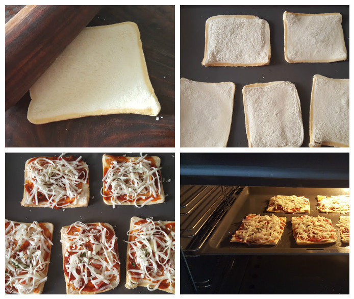 bread pizza collage
