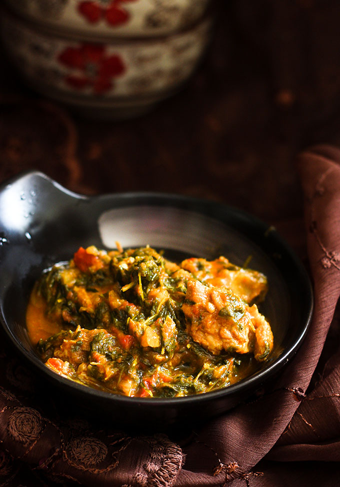 Methi Gosht recipe, hyderabadi - How to make methi gosht recipe / fenugreek leaves cooked with mutton / lamb pieces / step by step instruction for methi gosht