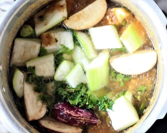 veggies added in boiled dal