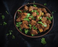 close up of andhra mutton fry recipe