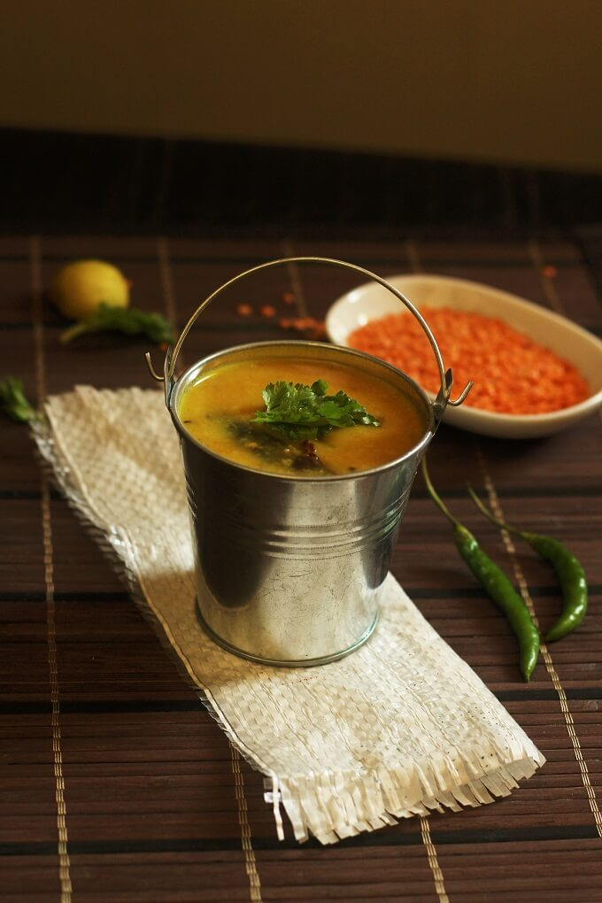 masoor-dal recipe in a small serving bucket