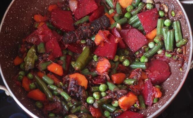 fried veggies for preparing veg pulao