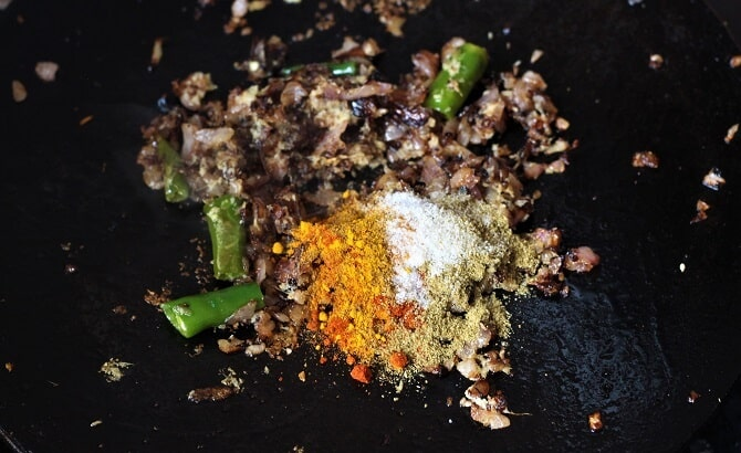 spices added for making the tawa keema recipe
