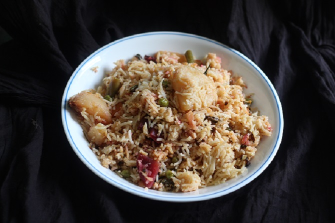 Vegetable Pulao Recipe in a white plate