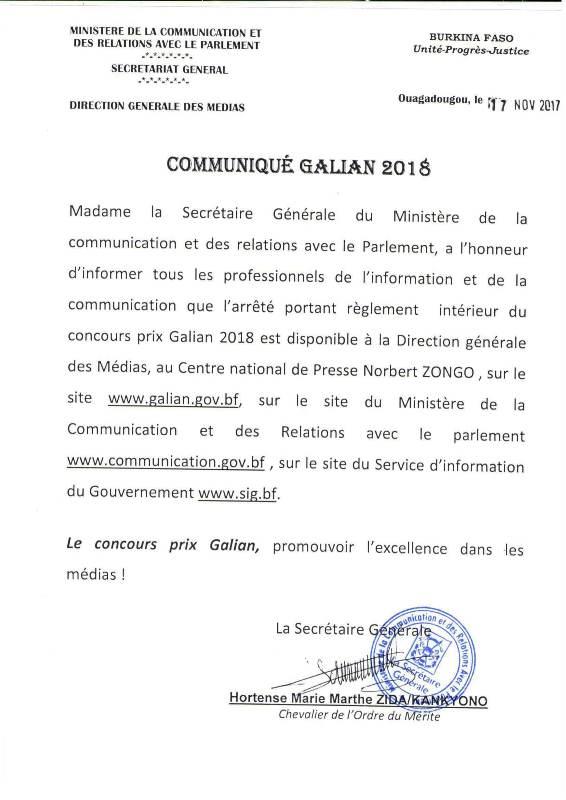 Communiqué GALIAN 2018-1