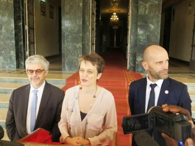 La délégation de L'AFD Mme Laurence Breton Moyet (au centre)