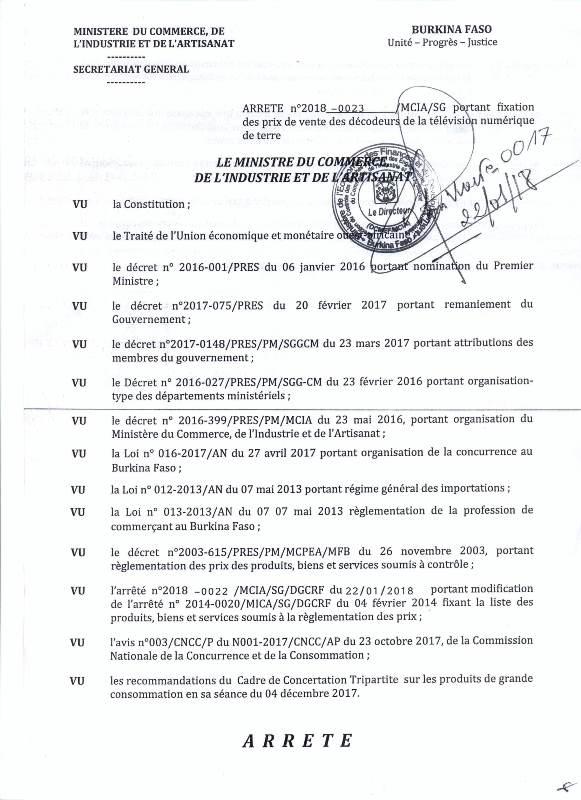 Arrêté Décodeur TNT-1