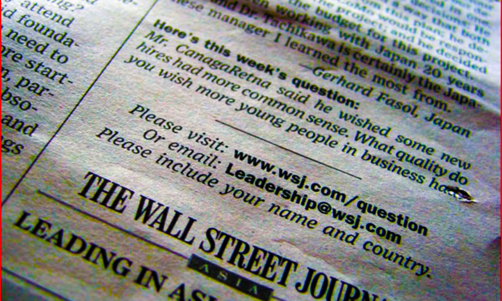 "NTT Docomo CEO: Wall Street Journal ""Leadership Question of the Week"" – Japanese leadership Learning from Dr. Keiji Tachikawa, NTT Docomo CEO"
