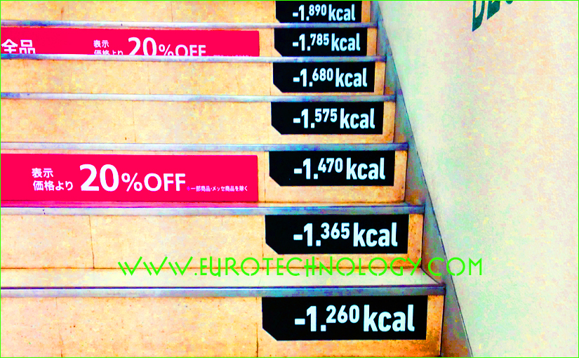 Keep fit and save electricity: geeky way to encourage people to climb stairs, seen in Tokyo at Tokyu Hands Shibuya store