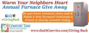 Comfort Time Free Furnace Giveaway - Nominate someone in need
