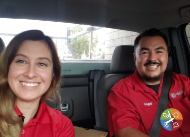 Angel & Crystal in the service truck on there way to  a sales call