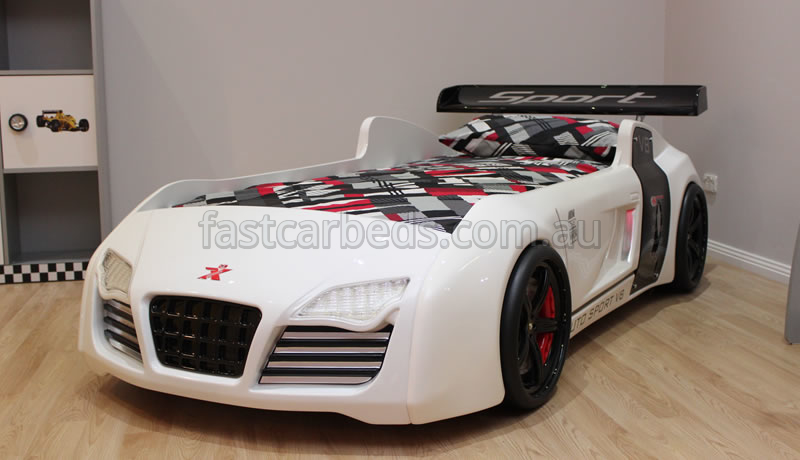 sofa bed timber slats crushed velvet grey l shaped awesome white thunder v8 quattro kids car