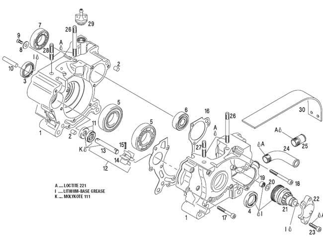 Crankcase, Water Pump, Starter Bendix, Chain Guard
