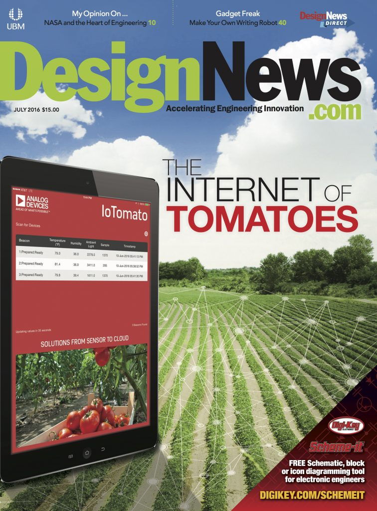 Design News July 2016 Cover