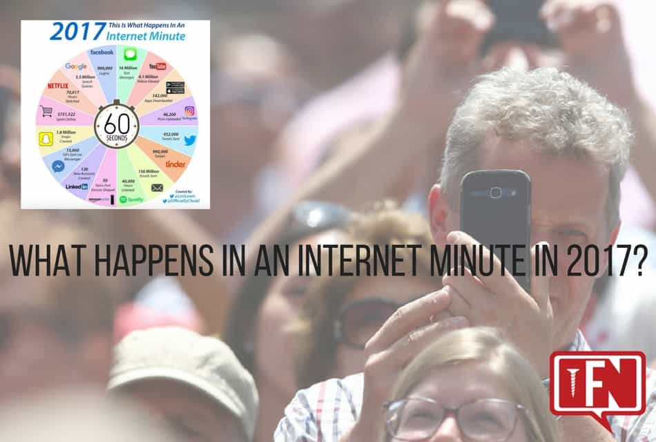 What happens in an internet minute in 2017?