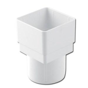 SquareRound Downpipe Adptr (White) | Guttering | PVC Gutter | PVC Rainwater Goods | Faster Plastics