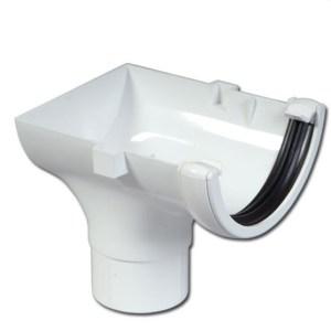 Half-Round Gutter Run Outlet Stop End (White) | Guttering | PVC Gutter | PVC Rainwater Goods | Faster Plastics